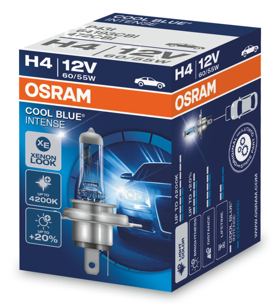 Лампа H4 Osram Cool Blue Intense -20- картон 64193CBI